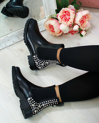 Womens Ladies Low Block Chunky Heel Sole Chelsea Studded Ankle Shoes Boots Size
