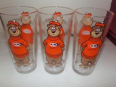 """Set Of Three Vintage 1970'S A & W Glasses! 6 1/4 Tall Holds 16 0Z. """"Really Cute"""""""
