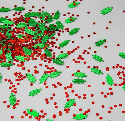 1 Christmas Table Confetti Holly Leaves Berries Red Green Party Decoration Craft