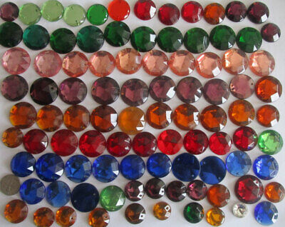 HUGE HEAVY LOT: Over 2 lbs Vintage German Glass Round Sew-on Stones 10mm - 30mm
