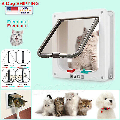 Magnetic Pet Door Cat Flap Door 4 Way Lockable for Cats Kitties Dog Puppy M Size