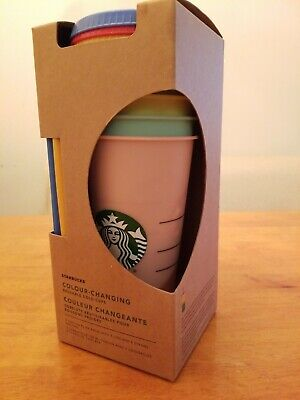 RARE Starbucks Reusable COLOR CHANGING Cold Cup Collection Pack 5 W/Lids Straws