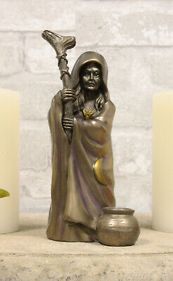 Celtic Wiccan Triple Goddess The Crone With Waning Crescent Moon Decor Statue