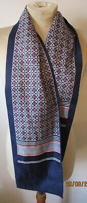 Vintage Retro Men's Trendy MOD Silk Style Patterned Thin Scarf Navy Blue Red