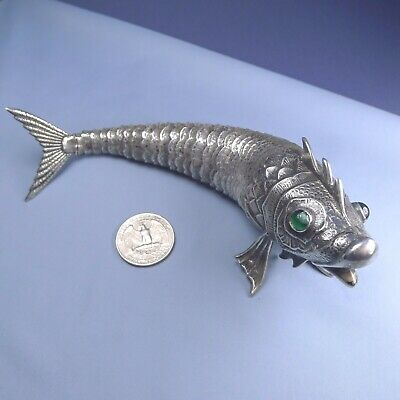 Antique Spanish Sterling Silver Articulated Fish / 92 grams