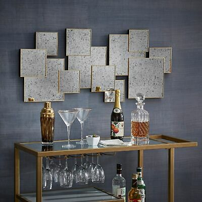 Neville Brass Finish Multi Square Antiqued Mirror Wall Decor Silver, Gold A, N