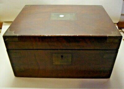 Antique Victorian brass bound writing slope with secret draws