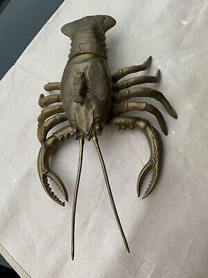 Large Antique  BRASS LOBSTER With Articulating Arms Dish/Tray 17 1/2 X 13 Inches