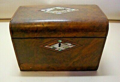 Antique Victorian burr walnut mother of pearl inlaid tea caddy