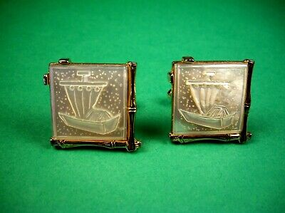 Vintage Cufflinks Swank White Mother-of-Pearl Large Square Roman Sailboat