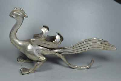 Collectable Handwork Old Miao SIlver Carve Tail Phoenix Auspicious Unique Statue