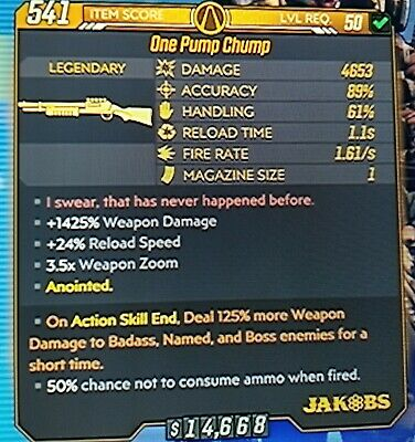 Borderlands 3  Anointed 125% God Roll ''ONE PUMP CHUMP'' level 50XBOX ONE