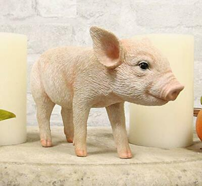 """Adorable Realistic Animal Farm Babe Piglet Pig Statue 8""""L Rustic Country Pigs"""