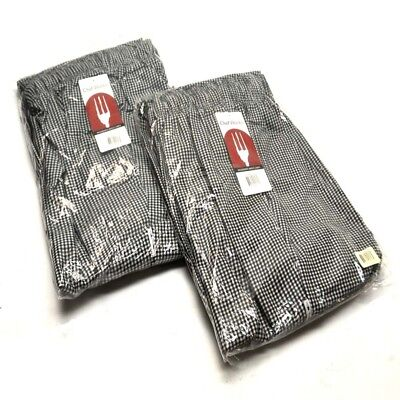 "(2) NEW Chef Works NBCP-000-7XL Checkered Baggy Essential chef Pants ""7XL"""