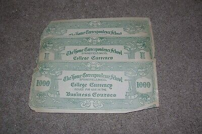 3 c.1930 Home Correspondence School College Currency, Springfield MA
