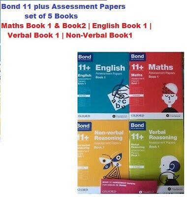 Bond 11 plus Assessment papers 9-10yr English/Verbal/NON-Verbal/Maths Book 1 & 2