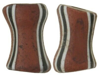 Old African trade beads Fancy Dog bone Venetian glass beads striped brick Ghana
