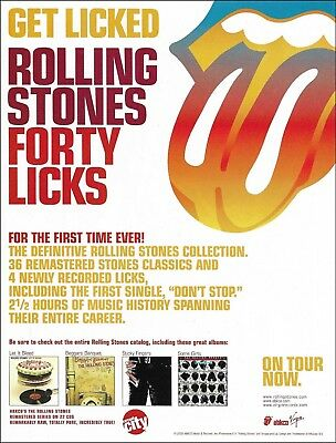 The Rolling Stones Forty Licks original 2002 advertisement 8 x 11 ad print