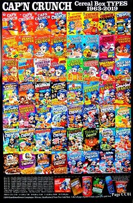 50 diff Vintage Cap'n capn Crunch Cereal Box Poster Variety Compilation $guide