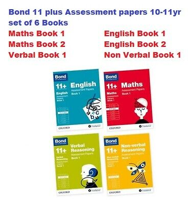 Bond 11 plus Assessment papers 10-11y set of  6 books Math book 1&2/Eng book 1&2