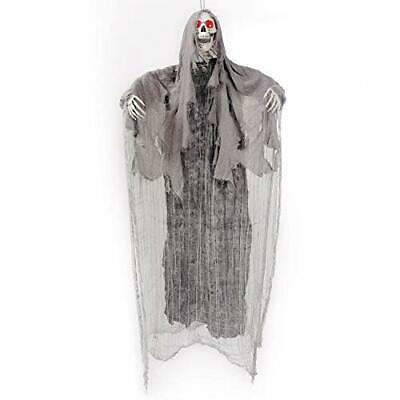 5.6 Ft. Animated Hanging Screaming Ghost Decoration, Halloween Skeleton Grim