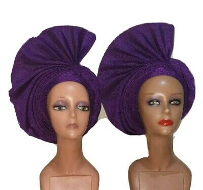 Elegant African Wedding Auto Gele Pleated Ready to Wear Aso Oke 1pcs