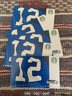 Five Starbucks 2019 Seattle Seahawks Gift Cards.  NEW.  PIN intact