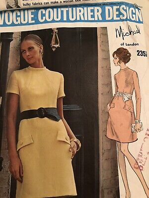 Set 1960s VTG VOGUE COUTURIER DESIGN PATTERN 2357 Michael Of London SIZE 10