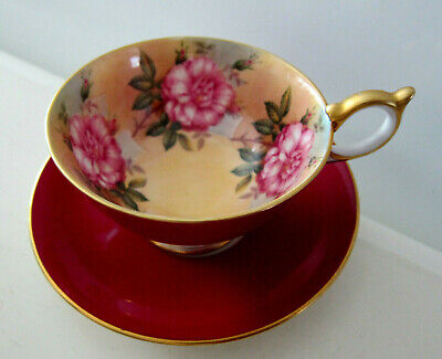 AYNSLEY HAND PAINTED TEACUP CABBAGE ROSE BURGUNDY SAUCER tea cup ENGLAND