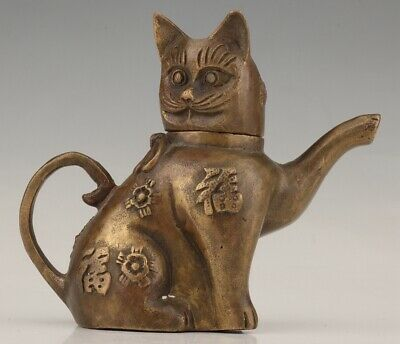 Rare China Bronze Hand-Carved Cat Animal Statue Teapot Home Old Decoration