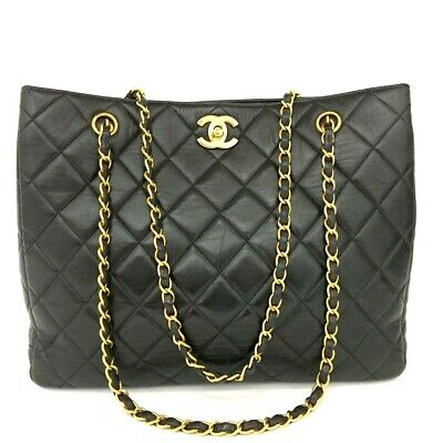 CHANEL Quilted Matelasse Lambskin CC Logo Chain Shoulder Tote Bag Black /b165