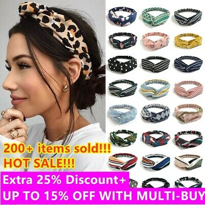 Ladies Twist Knot Headband Elastic Head Wrap Turban Print Hair Band Headwear New