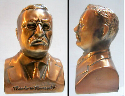 "President Theodore ""Teddy"" Roosevelt 5"" copper bust Bank made in USA"