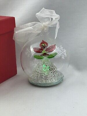 """Handcrafted Multi-Colored Illuminated Flower Glass Ornament IOB 3"""""""