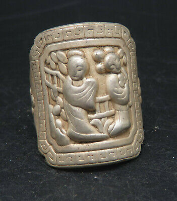 Ancient Medieval Carved Figure Silver Rings