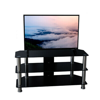 Black 3 Tiers Glass TV & Entertainment Stands with Storage Shelves Living Room