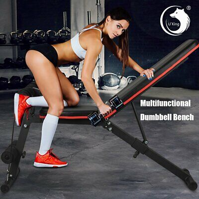 U'King Foldable Dumbbell Bench Weight Training Fitness 6 Incline Adjust Gym Abs