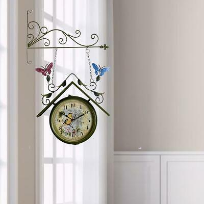 Double Side Wall-Mount Clock Outdoor Hanging Bell With Bracket Vintage Home Use