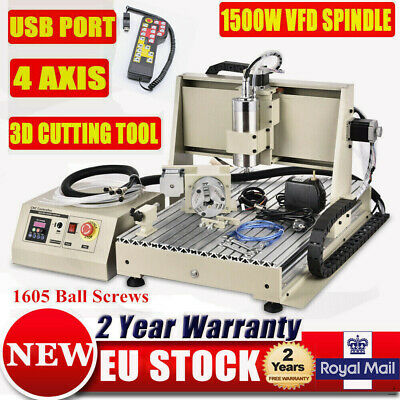 USB 4 Axis Router Machine CNC 6040 Engraver 1.5KW Milling Cutter + Controller EU