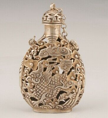 Rare China Tibetan Silver Pendant Snuff Bottle Carved Kylin Mascot Gift