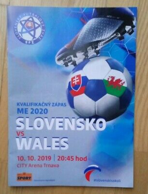 SLOVAKIA v WALES  10th October 2019   Official Programme