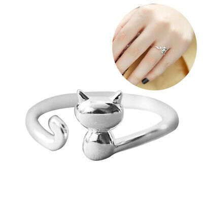JN_ Women Silver Plated Beauty Cats Open Animal Finger Ring Adjustable Jewelry