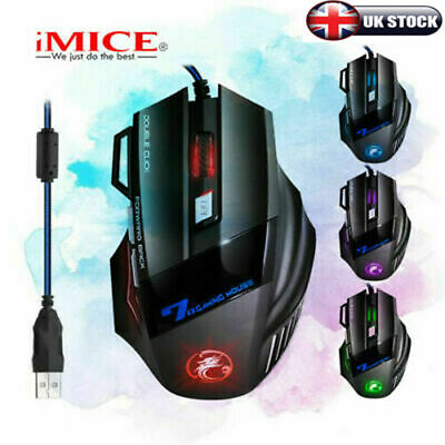 Usb Led Laser Wired Optical Game Gaming Mouse Pc 7 Buttons Adjustable 3200 Dpi