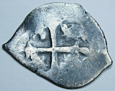 1600's Spanish Mexico Silver 1/2 Reales Piece of 8 Real Antique Pirate Cob Coin
