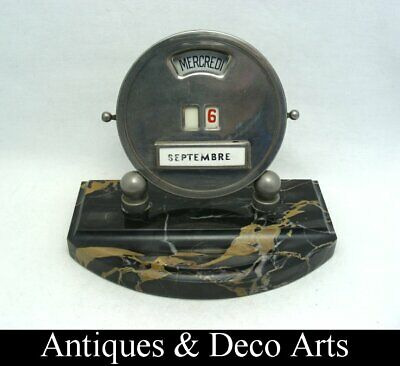 Art Deco French Desk Calendar on Marble Base Plate by Mistral