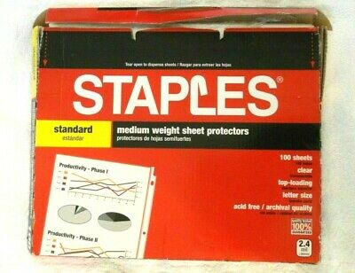 Staples Standard 75 Clear Sheet Protectors, Medium Weight, Clear, Letter Size