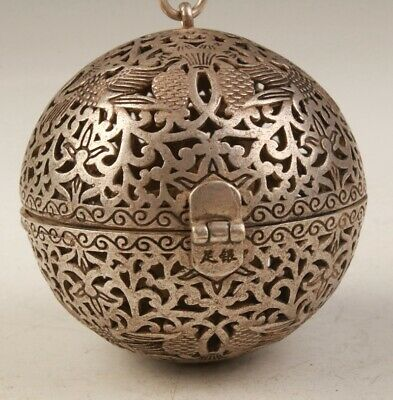 China Unique Tibetan Silver Pendant Hollow Incense Burner Mascot Decorative Old