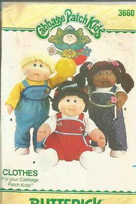 VTG Cabbage Patch Doll Clothes Pattern Butterick 3660, UnCut,Overalls, Shirt, +