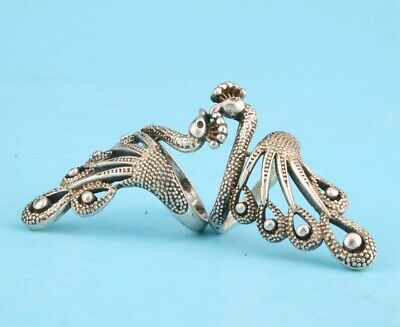 2. Retro China Tibetan Silver Hand-Carved Peacock Statue Ring Gift Old