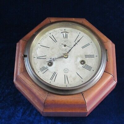 Antique New Haven ogee octagon wall clock